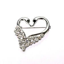 Beautiful Romantic Two Swans Heart Corsage Decoration Bridal Brooch Pin BR352