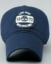 Timberland New Live Free England Baseball Cap Front Navy Logo Fully Adjustable