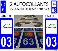 2 STICKERS RECOUVERT DE RESINE PLAQUE D IMMATRICULATION DEPARTEMENT 03 ALLIER