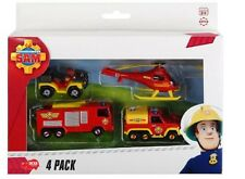 Model Car Fireman Sam 4 Pack Jupiter, Venus, Mercury, Helicopter metal 1/64
