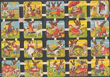 EASTER BUNNIES BROWN VINTAGE STYLE CHOCOLATE CHICKS EGGS  PAPER SCRAP EF GERMAN