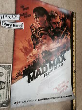 """MAD MAX Fury Road Movie Poster 11"""" x 17"""" Charlize Theron Tom Hardy Very Good"""
