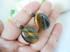 BEAUTY 925 STERLING SILVER NATURAL TIGER'S EYE & BLACK ONYX EARRINGS