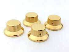 (4) Schaller Gold/Brass Bell Knobs for USA Gibson® Guitar/Bass 6mm Shaft Pots