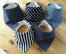 Baby Boys Bandana Dribble Bib Bundle. Navy Basics. Little Owl Bibs
