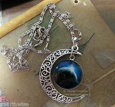 CRESCENT MOON PENDANT & CHAIN Pagan Wicca Witch Goth ASTROLOGY