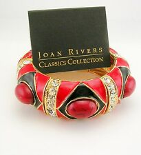 "Joan Rivers Cabochon & Crystal  Expansion Bracelet    1""  wide  RED"