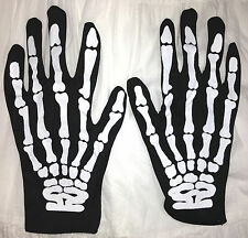 Gothic Punk Rocker SKELETON HAND BONE GLOVES Cosplay Halloween costume Accessory