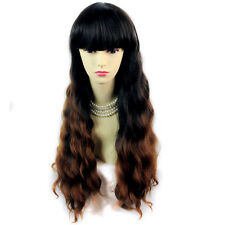 Lovely Curly Black Brown & Red Long Lady Wigs Dip-Dye Ombre hair from WIWIGS UK