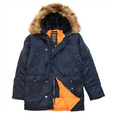 NEW ALPHA INDUSTRIES N3B SLIM FIT PARKA REPLICA BLUE L JACKET INSULATED COYOTE