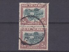 SOUTH AFRICA  1947 - 54  S G 121  2/6 GREEN & BROWN USED PAIR