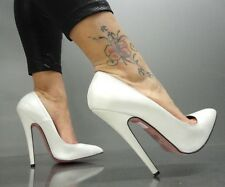 MORI MADE IN ITALY NEW HIGH SKY HEELS PUMPS SCHUHE SHOES LEATHER WHITE BIANCO 38
