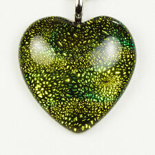 Golden Green Heart Pendant Necklace Black Leather Cord 925 Sterling Silver Clasp