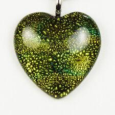 Verde Oro Grande Corazón Colgante Collar De Cuero Negro Cable de 925 Broche De Plata