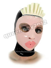 100% Latex Rubber Gummi 0.45mm Maid Mask Hood Suit Catsuit Ruffle Party Costume