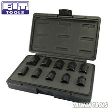 "FIT TOOLS 10 PCS 1/2"" 9~27 mm CR-V Sockets for Air / Pneumatic Impact Wrench -US"