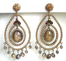 Butler and Wilson Topaz Crystal Large Gala Earrings NEW