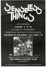 2/11/91 Pgn38 Advert: Senseless Things the First Of Too Many & On Tour 7x5""