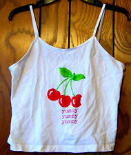 "Sz L- NWOT Friends of the Heart White ""Yummy"" Cherry Print Cami Shirt Size Large"