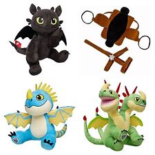 Build A Bear STORMFLY-BARF & BELCH And TOOTHLESS Plush With Saddle Bridle New