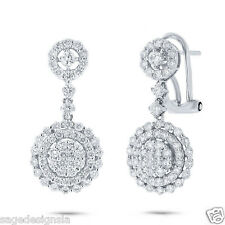 1.71 CT 18K White Gold Round Diamond Dangle Drop Circle Halo Omega Back Earring