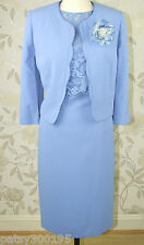 BNWT Jacques Vert Mother of Bride Groom Blue Lace Dress & Jacket Size 16