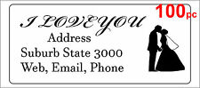 100 Personalised return address label custom mailing sticker 56x25mm wedding