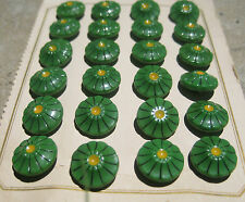 """Card of 24 Vintage 1/2"""" Green Handpainted Glass Buttons Pre WWII~new/old stock"""