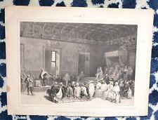 Lithographie XIX ème - Louis de Bourbon devant la Cour de François II - O. Gué