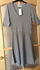 "BNWT "" Next "" Size 14 Grey Knitted Casual Dress ( 42 EU) Flared Skirt New"