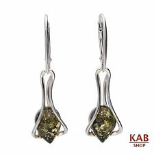 GREEN BALTIC AMBER STERLING SILVER 925 JEWELLERY EARRINGS, KAB-38