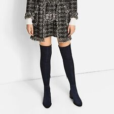 ZARA NAVY BLUE STRETCH FLAT REAL LEATHER SUEDE OVER THE KNEE BOOTS REF.5006/101