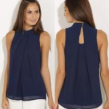 Fashion Womens Summer Blouse Tops Casual Chiffon Blouse Sleeveless Shirt T-shirt