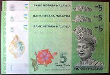 MALAYSIA RM5 POLYMER  AA BANK NOTE ZETI 4 PCS - UNC