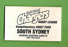 #D257. OLD RUGBY LEAGUE PASS - GOLD COAST CHARGERS V SOUTH SYDNEY RABBITOHS