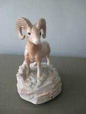 "Vintage Otagiri Musical Statue ""Born Free"" Ram Animal Porcelain Figurine Shiny"