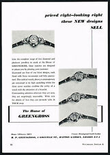 1950's Old Vintage House of Greengross Diamond Cocktail & Cover Watches Print AD