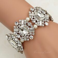 Rhodium Plated Pearl Clear Crystal Bridal Wedding Bangle Cuff Stretch Bracelet 0