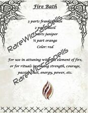 Magick Recipe for Fire Bath 1 parch pg for Wicca Spell Book of Shadows poster