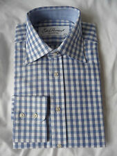 "EDE & RAVENSCROFT  brand new pale blue check dress shirt 15"" RRP £89"
