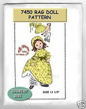 7450 Country girl Rag Cloth doll  wardrobe pattern vintage 13-1/2""