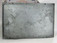 04C30 ANCIEN TAMPON MATRICE IMPRIMEUR PUBLICITÉ IMPRIMERIE MODERNE D' ARRAS 1930