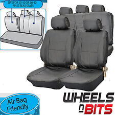 VW Passat CC UNIVERSAL BLACK PVC Leather Look Car Seat Covers Split Rears
