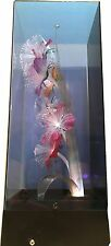 VINTAGE 1980'S FIBER OPTIC FLOWERS FLORAL LAMP MUSIC BOX IN SMOKED CLEAR CASE