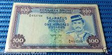 1983 Negara Brunei Darussalam $100 Note A/5 652759 Circulated Dollar Currency