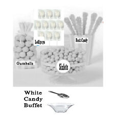 White Candy Buffet, Gum Balls, Sixlets, Lollipops, Rock Candy