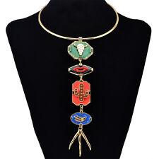 Punk Fashion Gold Necklace Long Tassel Pendant Geometric Shape Choker Jewelry