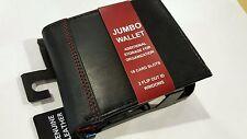 BIFOLD WALLET JUMBO GEORGE MEN'S GENUINE BLACK LEATHER 16 CARD SLOTS