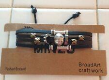 BRACELET mixte cuir et anneaux sur noeud coulissant MIXTE réglable prix TOP !!