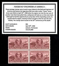 1950 - CASEY JONES (RR ENGINEERS) -  Block of Four Vintage U.S. Postage Stamps